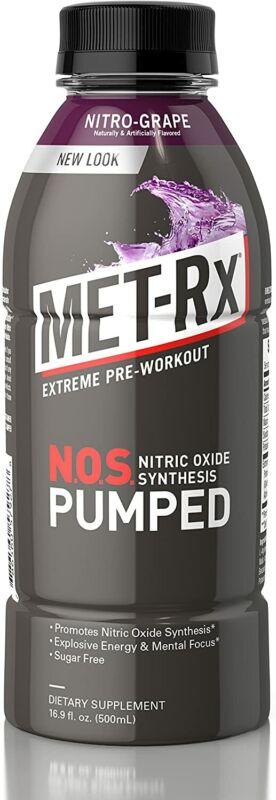 MET-Rx NOS Pumped, Nitro Grape, 16.9 oz. , Pre-Workout Ready