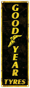 GOOD YEAR TYRES  Vintage Tin Sign vertical 60 x 20 cm (Black)