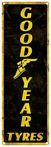 GOOD YEAR TYRES  Vintage Tin Sign vertical 60 x 20 cm (Black)
