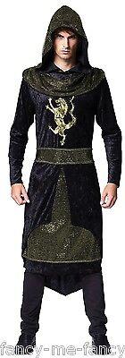 Mens Black Medieval Sheriff of Nottingham Robin Hood Fancy Dress Costume - Black Robin Hood Kostüm