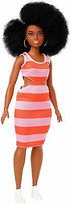 Barbie Fashionistas Curvy Doll Stripe Cut Out Dress African American FXL45 - NIB