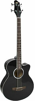 Acoustic Electric Bass Guitar Natural Full Size 4 String Fretted Black New Style