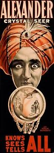 ALEXANDER MAGIC MAGICIAN POSTER CRYSTAL BALL TELEPATHY SHOW TRICK AD PRINT 737
