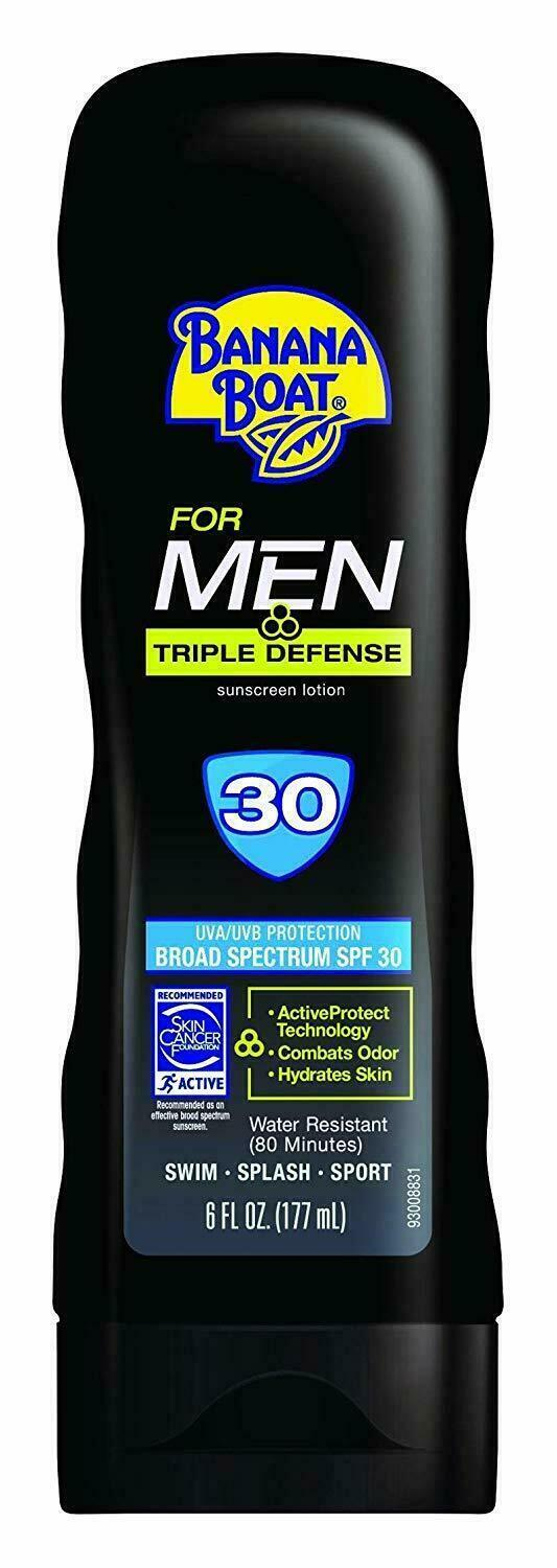 Lot of 3 Banana Boat Triple Defense For Men 30 SPF Sunscreen
