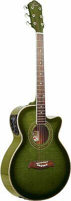 Oscar Schmidt OG10CEFTGR Acoustic Electric Guitar Trans Green