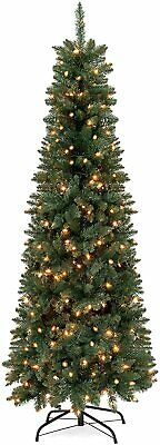 6ft Pre-Lit Hinged Fir Artificial Pencil Christmas Tree w/ 250 Warm White Lights