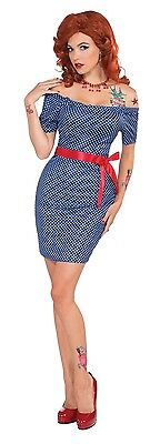 Ladies Sexy 1950s Glamour Girl 50s Hen Do Fancy Dress Costume Outfit 10-12-14 ()