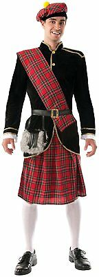 Scotsman Scottish Highlander Kilt Scot Fancy Dress Up Halloween Adult Costume
