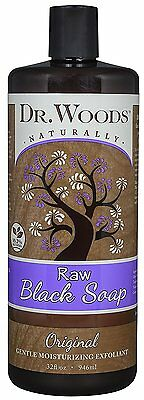 Dr. Woods Natural Raw African Black Moisturizing Liquid Castile Soap, 32 Ounce