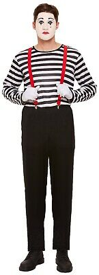 Mens Striped French Mime Artist Circus Halloween Fancy Dress Costume Outfit - French Mime Halloween