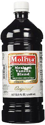 Best Jumbo Mexican Pure Vanilla Molina 33OZ Extract Classic Original LG Bottle