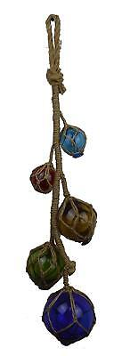 "27""L Five Glass Floats on Rope Dark Blue, Red, Orange, Green, Light Blue Garland"
