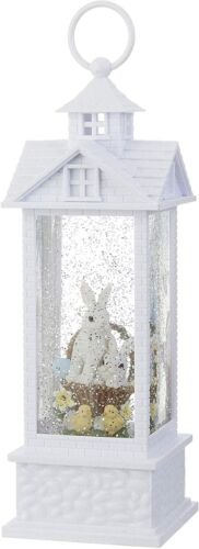 Bunnies in Basket Lighted Water Gazebo, Spring Water Lantern, 11.75 Inches