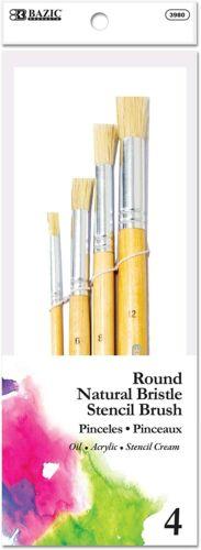 BAZIC Round Natural Bristle Stencil Brush Set 4 pcs Acrylic Oil Watercolor Art