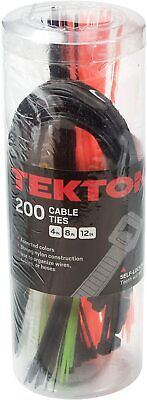 Tekton Cable Zip Ties Two Hundred 200 Piece Assorted Lengths