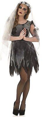 Ladies Sexy Dead Black Corpse Bride Fancy Dress Costume Outfit 8-22 Plus - Corpse Bride Costume Plus Size