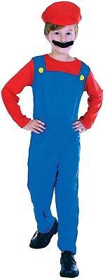 Jungen Retro Mario Klempner Gaming Book Day Karneval Fun Kostüm