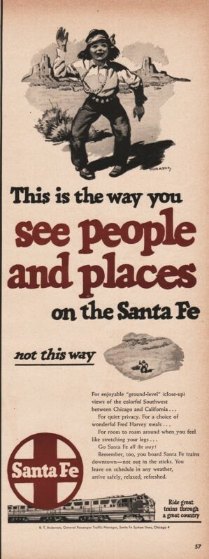 1950 SANTA FE Native American Indian boy art TRAIN Railroad vintage RR ad