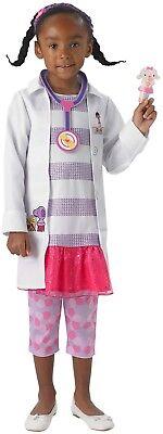 Girls Deluxe Disney Doc McStuffins Dr Pet Vet Book TV Fancy Dress Costume Outfit