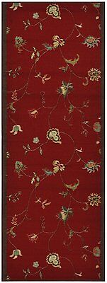 Antibacterial Custom Sizes Non Skid Red Floral Runner Rug Pick Your Own Size 26W](Carpet Runner Red)