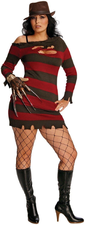 ladies miss freddie krueger halloween tv film fancy dress costume