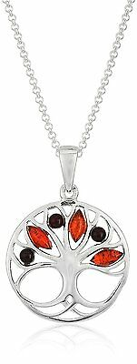 "18"" Amazon Col. Multicolor Amber Sterling Silver Tree Pendant Chain Necklace NWT"