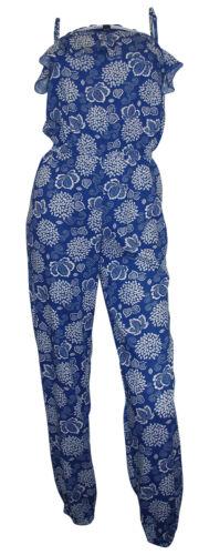 76c5e9a61db2c2 ARIZONA Overall blau weiß Mädchen Damen Blumen Jumpsuit Träger Einteiler