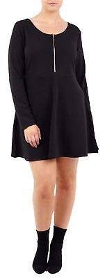 Zip Front T-shirt Kleid (Frauen Übergroß Front Zip Lange Ärmel Skater Reißverschluss Swing Kleid 44-60)