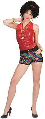 60 70 80 Costumes (Ladies 60s 70s 80s Rainbow Sequin Disco Shorts Fancy Dress Costume Outfit)