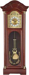 Bedford 33 Grandfather Chiming Pendulum Wall Clock in Antique Cherry Oak Finish