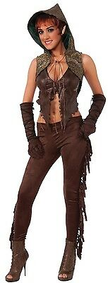Ladies Medieval Elf Pixie Hunter Halloween Fancy Dress Costume Outfit 10-12-14