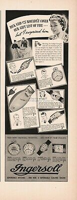1938 Ingersoll Buck Ensign Yankee Pocket Watch MIckey Mouse Wristwatch PRINT Ad