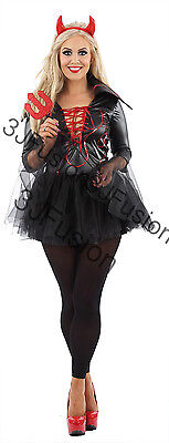 Adult Ladies Sexy Devil Halloween Womens Wicked Devil Fancy Dress Costume - Ej Halloween