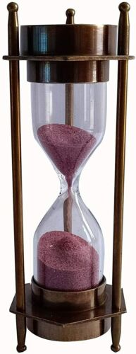 Antique Style Brass 5 Inches Decorative Sand Timer For Home Decoration