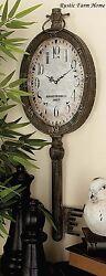 Large Elegant Metal Key Clock Wall Decor SHABBY Antique CHIC Vintage Industrial