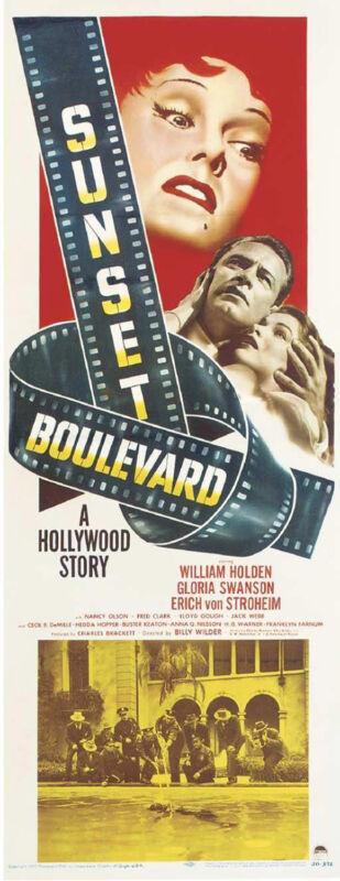 SUNSET BOULEVARD Movie POSTER 14x36 Insert Gloria Swanson William Holden Erich