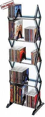 DVD Shelf Storage CD Rack Tower Organizer Multimedia Stand Shelves Holder Black