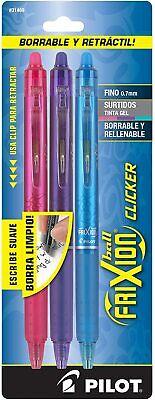 Pilot Frixion Clicker Erasable Gel Ink Pens Fine Point Assorted Ink 3 Pack