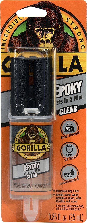Gorilla 5 min EPOXY CLEAR INDOOR OUTDOOR f/ WOOD PLASTICS GL