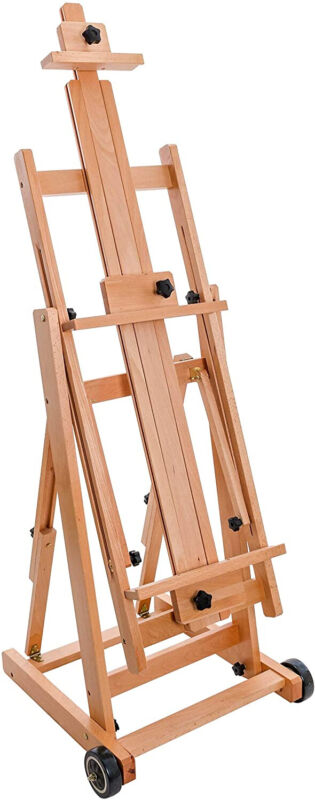 U.S. Art Supply Master Multi-Function Studio Artist Wooden Floor Easel - Large