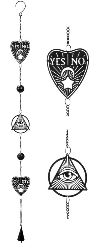 Ouija Planchette Eye Of Providence Metal Wall Hanging Mobile Wind Chime W/ Beads