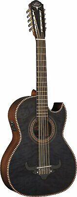 Oscar Schmidt OH32SEQTB Bajo Quinto Latin Acoustic/Electric Guitar BLACK w/ BAG
