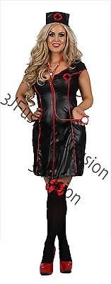 Womens Adult Black Nurse Costume Uniform Outfit FREE STOCKINGS & FREE POST (CM)