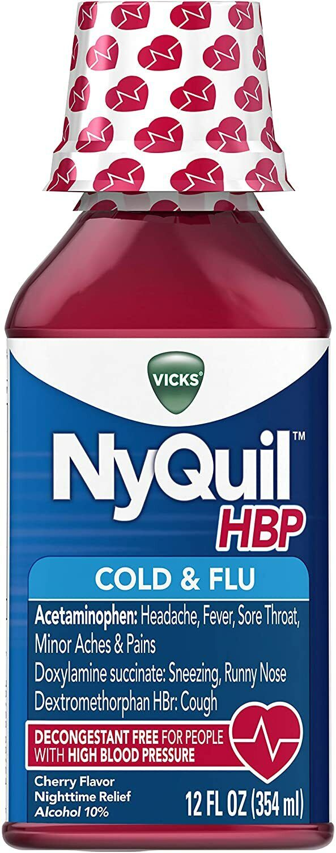 Vicks NyQuil, High Blood Pressure Cold & Flu Medicine,12 Fl