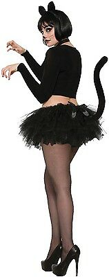 Damen schwarz Katzenschwanz Halloween Tier Kostüm Kleid Outfit Tutu Rock