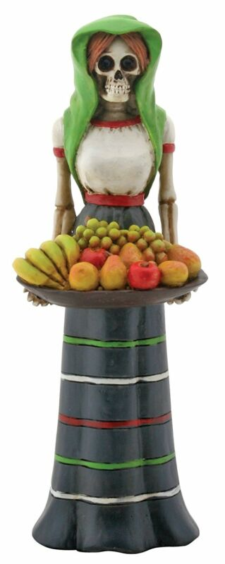 Skeleton Fruit Lady with Basket Day of the Dead Figurine Dia de los Muertos New