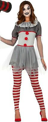 Damen Horror Bad Clown Halloween Film Unheimlich Kostüm Kleid Outfit UK 8-16 (Damen Clown Kostüm Uk)