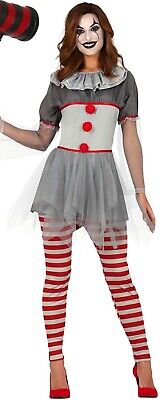 Damen Horror Bad Clown Halloween Film Unheimlich Kostüm Kleid Outfit UK 8-16 ()