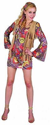 Adult Ladies Girl Woodstock Flower 1960/70s Dress Costume Fancy Outfits