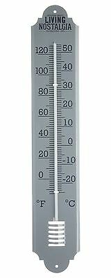 Living Nostalgia 50cm Outdoor Metal Wall Mounted Temperature Thermometer